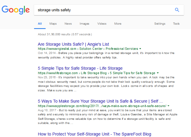 storage units safety   text search